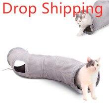 Envío Directo Material de gamuza plegable gato túnel gatito juego tubo para gatos grandes perros conejos con pelota divertido gato Juguetes