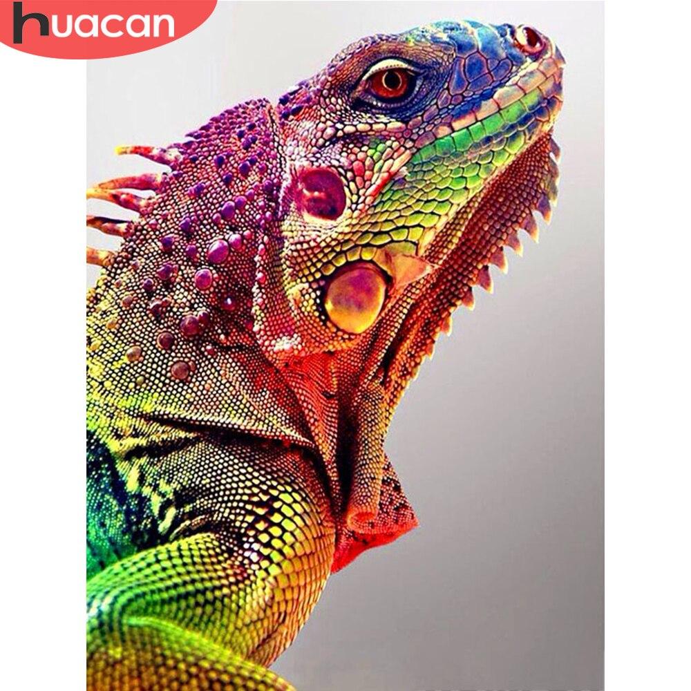 HUACAN 5D, bordado de diamantes, punto de cruz, cuadro de camaleón, mosaico completo de animales, decoración del hogar, arte de diamantes