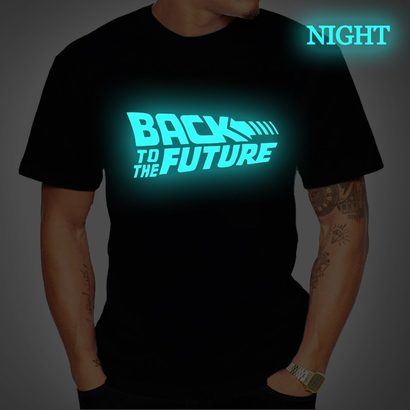 Camiseta masculina com manga curta, de volta ao futuro, luminosa, preta camisa inteligente meska