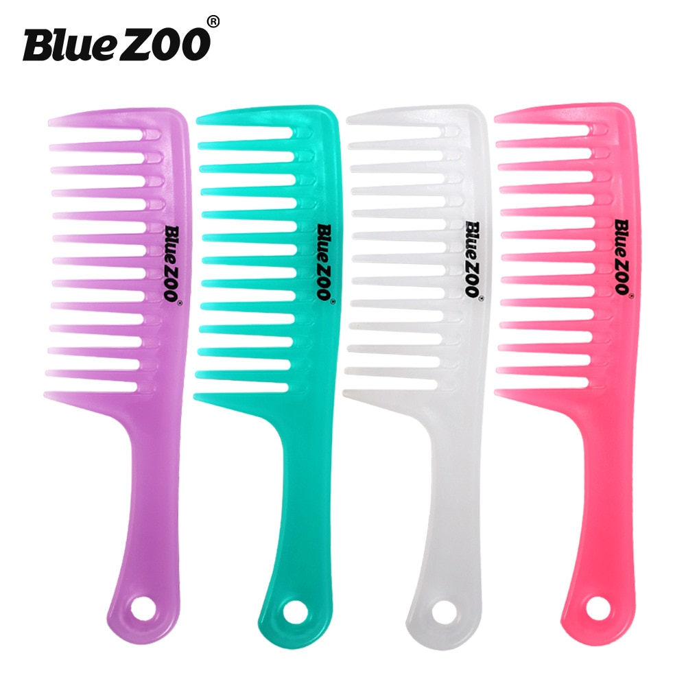 Cor azul dos doces do jardim zoológico punho reto tamanho grande pente de dentes largos cabelo curling pente resistente ao calor anti-estático shun