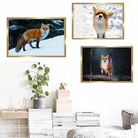 Toile de peinture a lhuile danimaux  renard jaune et blanc  decoration murale de bureau  salon  couloir  maison