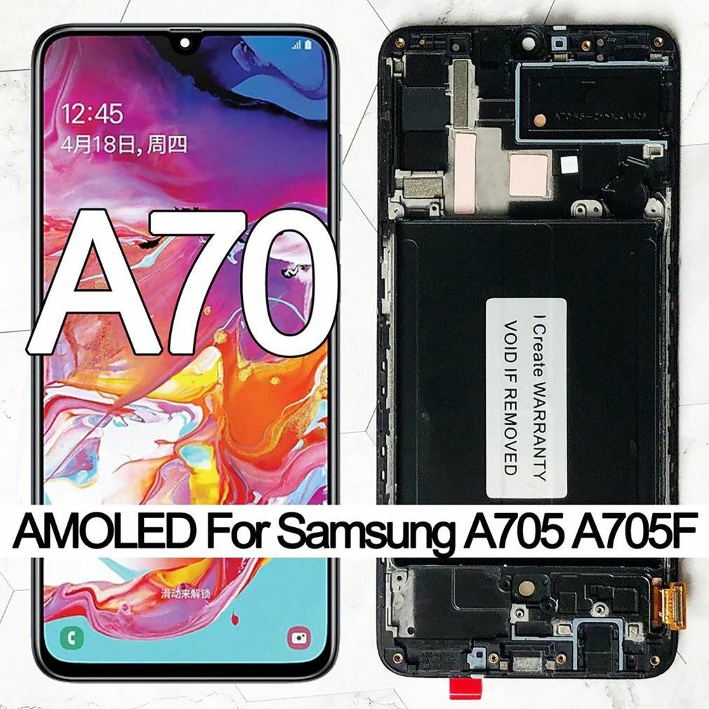شاشة عرض OLED 6.7 بوصة لهاتف سامسونج جالاكسي A70 A705 A705F شاشة عرض تعمل باللمس مجمع رقمي شاشة LCD استبدال مع أداة