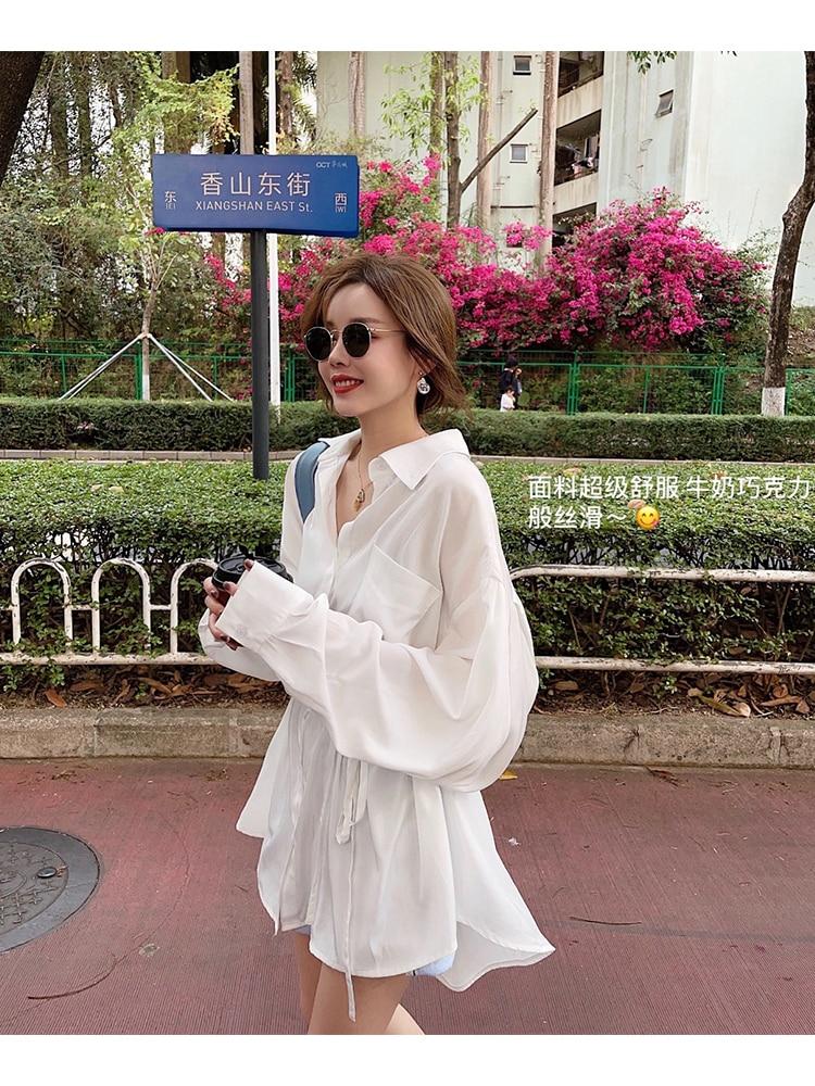 long sleeve white shirt long cardigan blouse women summer tops 8908#