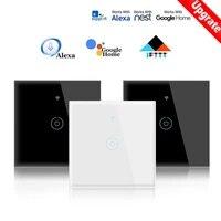 Tuya WiFi commutateur tactile intelligent panneau de commutateur de lumiere 110-250V bouton daccueil interrupteur de lumiere intelligente pour Alexa et Google Assistant a la maison