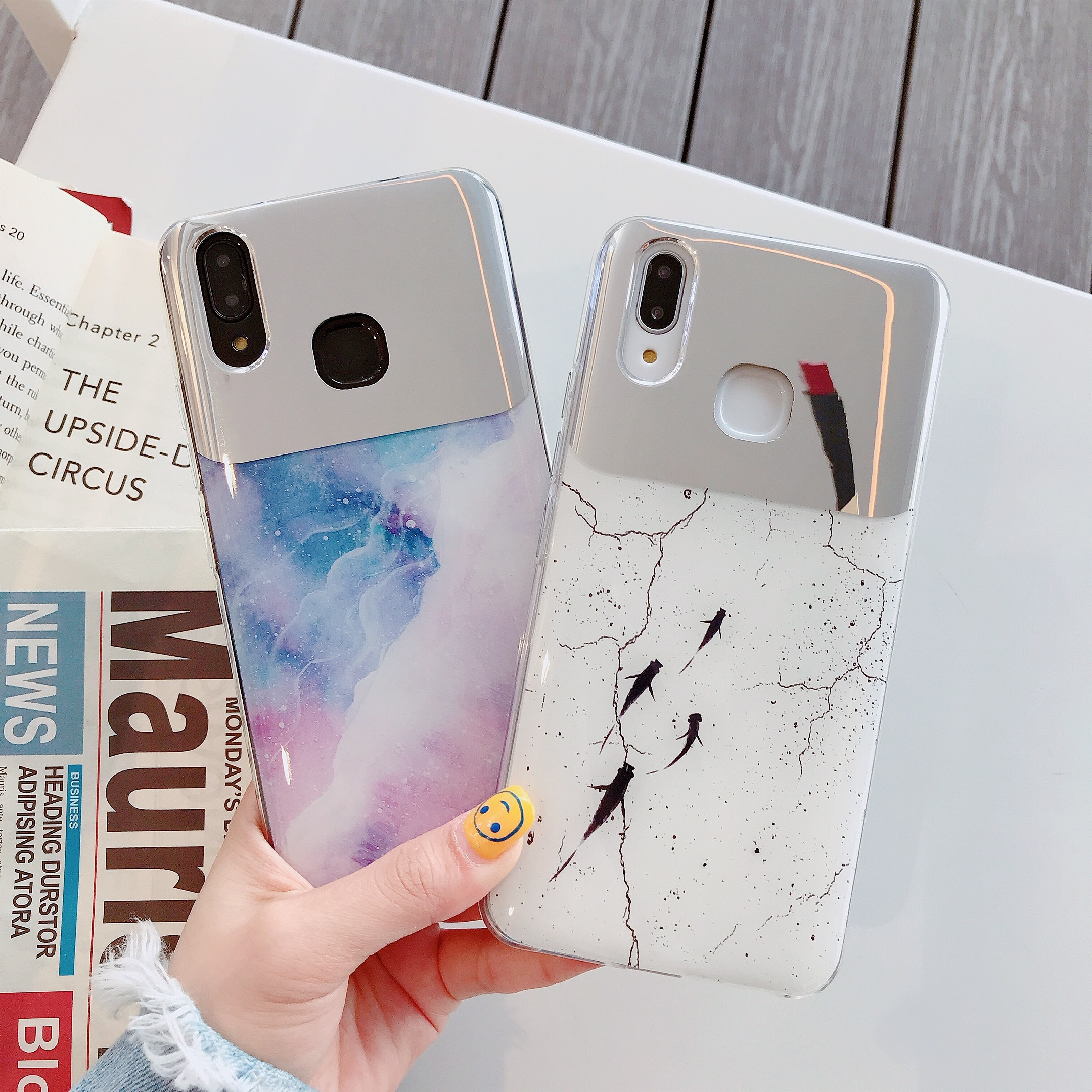 Mármol, espejo de maquillaje suave funda de teléfono para XiaoMi RedNi K20 K30 S2 ir Nota 4 4X 5 5 5 6 6 7 8 9 Pro anillo caso cordón cubierta