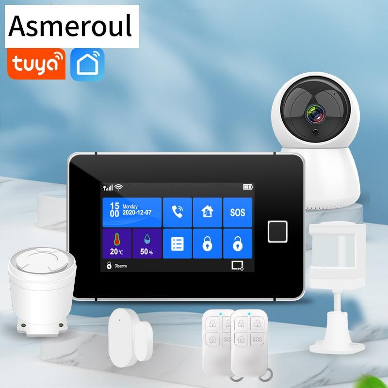 Wifi GSM Alarm System 433MHz Home Burglar Alarm Wireless Wired Sensor TFT Touch Keyboard Fingerprint Arming Temperature Humidity