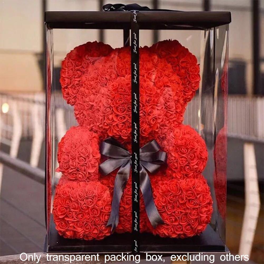 Grande caixa transparente dia dos namorados rosa urso flor casamento venda embalagem nova boxs presente aniversário quente 17x17x29cm decorati v6a4