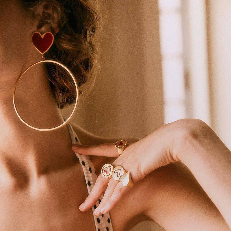 XIYANIKE 2019 pendientes grandes de aro colgante de corazón de Nuevo rojo para mujer, pendientes elegantes de corazón de amor para mujer, regalo de joyas de fiesta