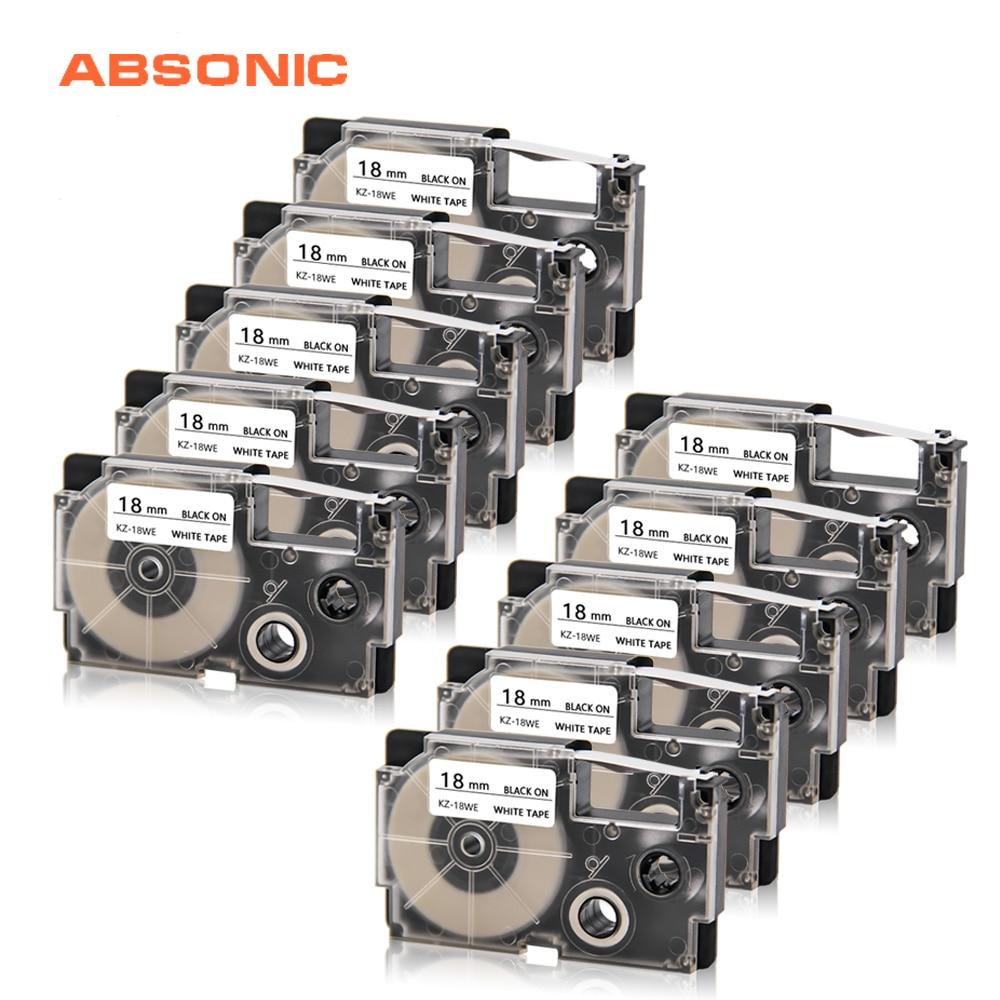 Absonic 2pcs18mm XR-18X preto em fita de etiqueta clara compatível para casio fabricante lable kl120 KL-HD1-IH KL-430 KL-750 KL-780 KL-820