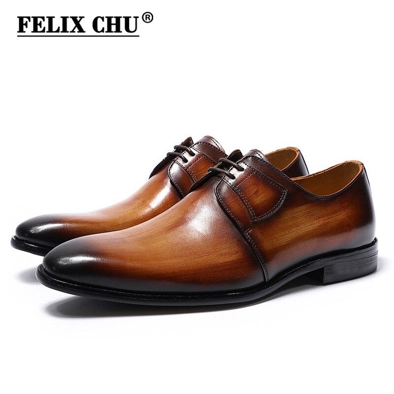 Felix chu pintados à mão masculino derby sapatos genuíno leahter escritório empresa formal sapatos de renda homem vestido calçados negócios oxford