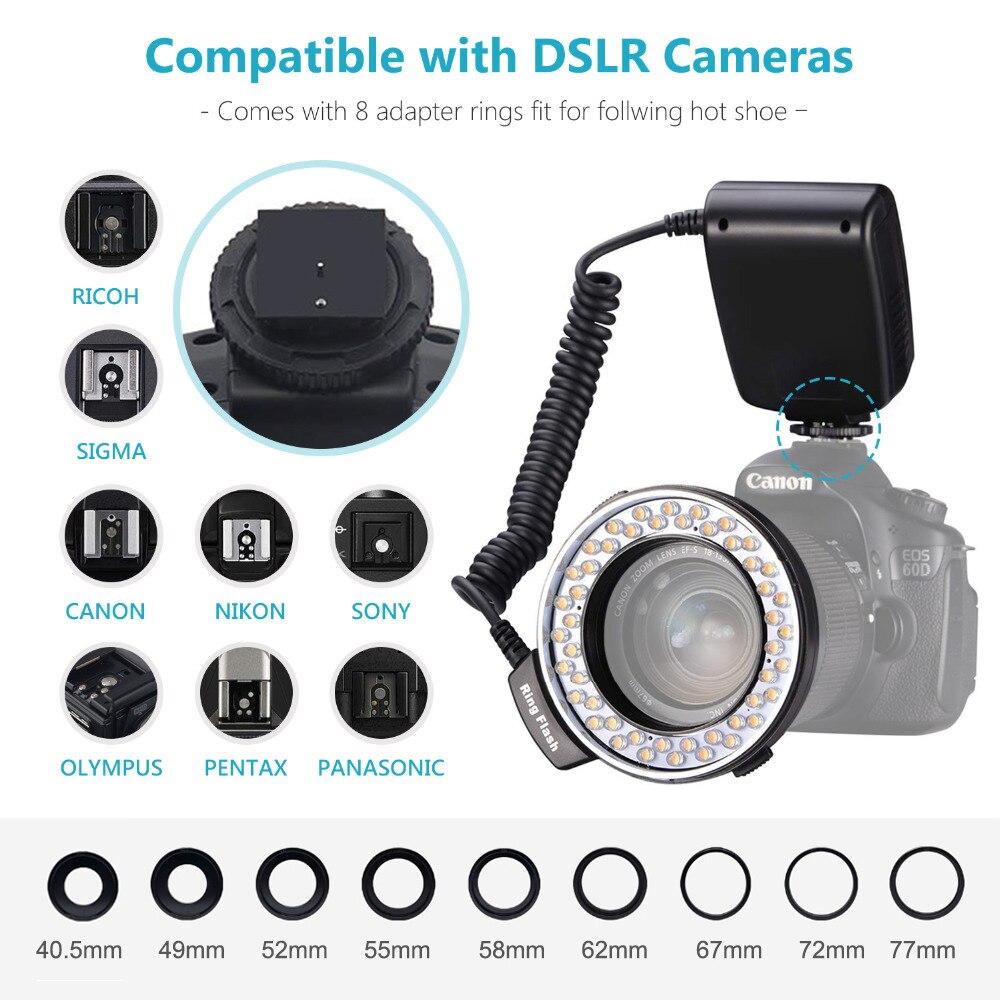 MAMEN 48 Macro LED Ring Flash Light With 9 Adapter Ring For Nikon Canon Pentax Olympus Panasonic Camera DSLR Ring Flash Kit