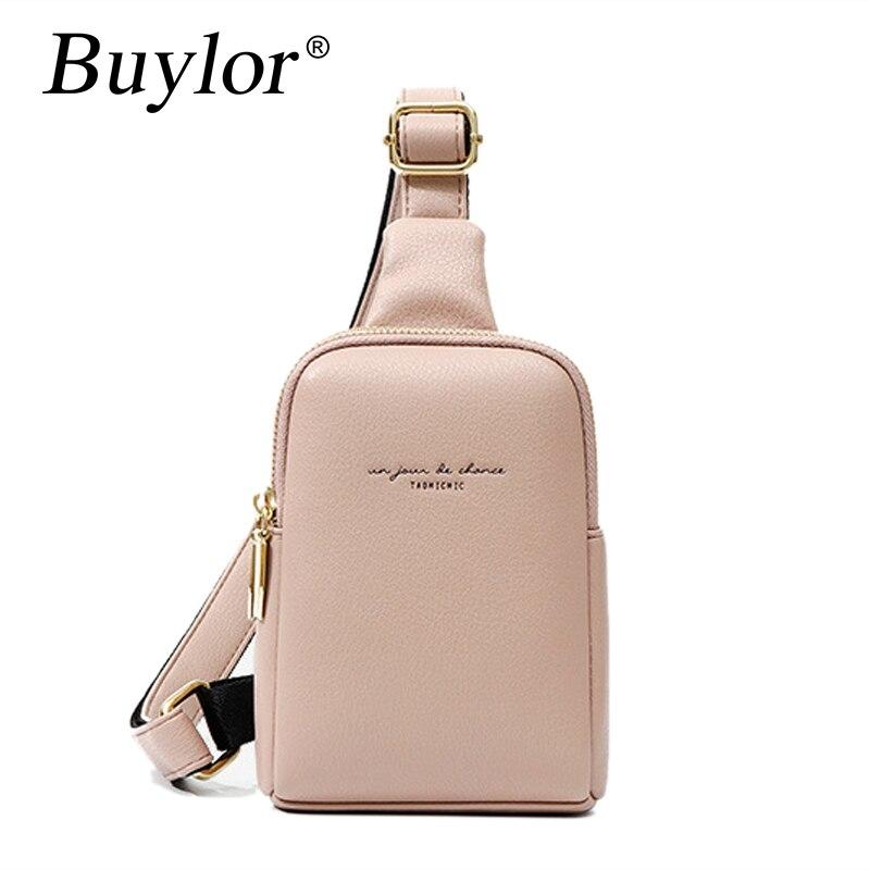Buylor Women Chest Bags PU Leather Fashion Waist Bag Mini High Quality Sports Messenger Bag Women Belt Bag Coin Purse