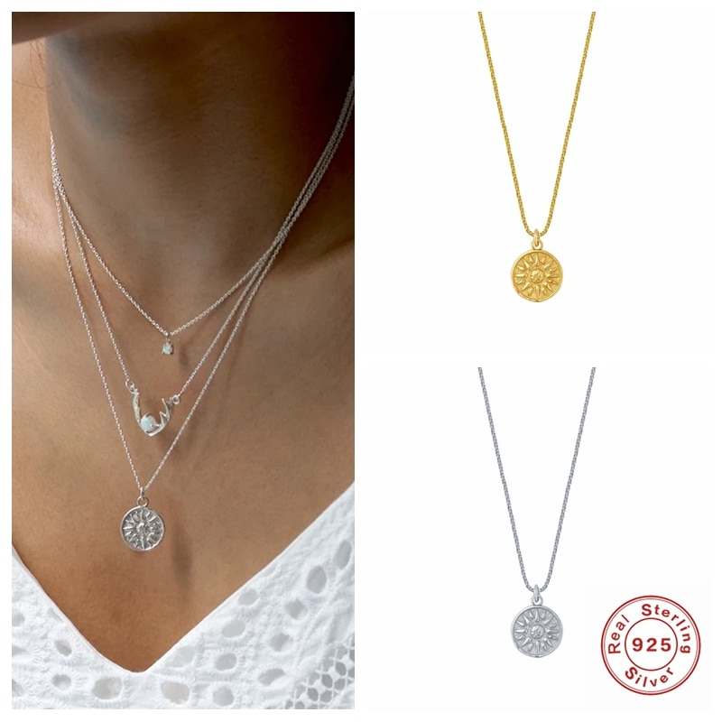 Aide Minimalist 925 Sterling Silver Sunflower Necklaces Pendant Necklace Fashion Creative Jewelry Chain Necklaces for Women gnx0495 2015 new horizontal sideways cross women pendant necklace fashion 925 sterling silver necklaces for women