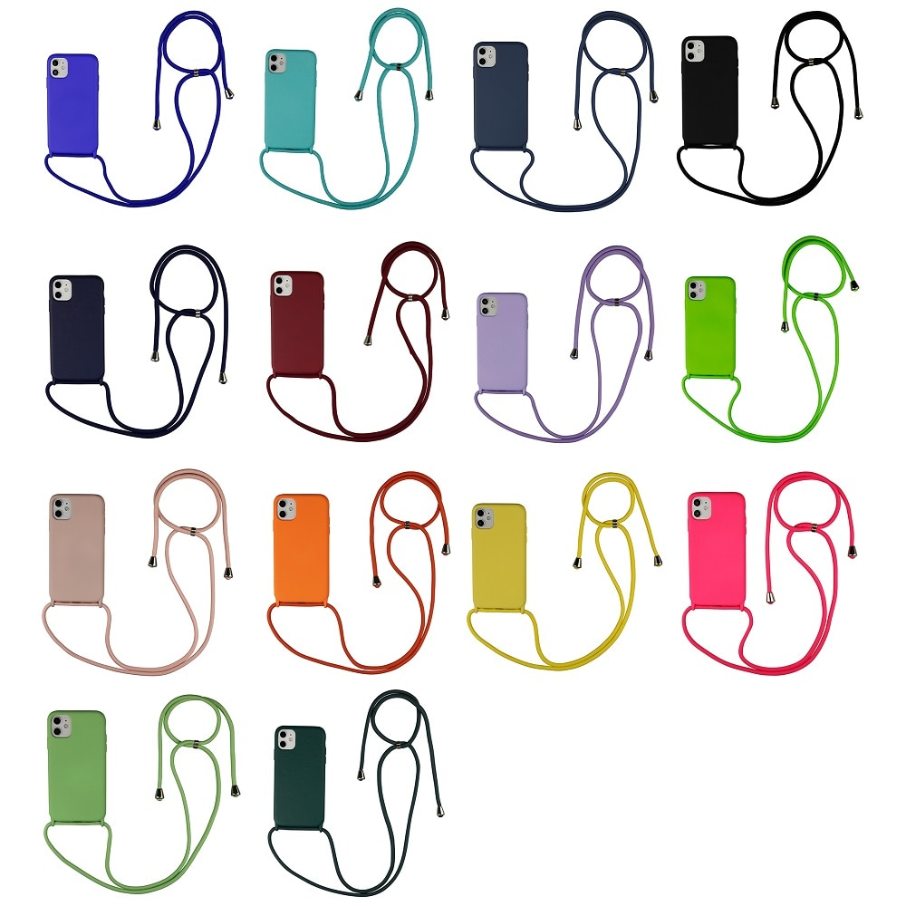 Funda de teléfono de silicona de lujo para iPhone 12 SE 11 Pro X XR 6 6s 7 8 Plus, collar cruzado, correa de cordón, funda trasera