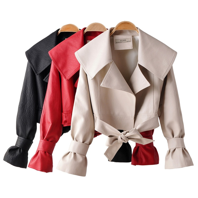 Spring Autumn Faux Soft Leather Short Jacket Turndown Collar Women Bow Belt Loose Coat Patchwork Bowknot Motorcycle Outwear 2021