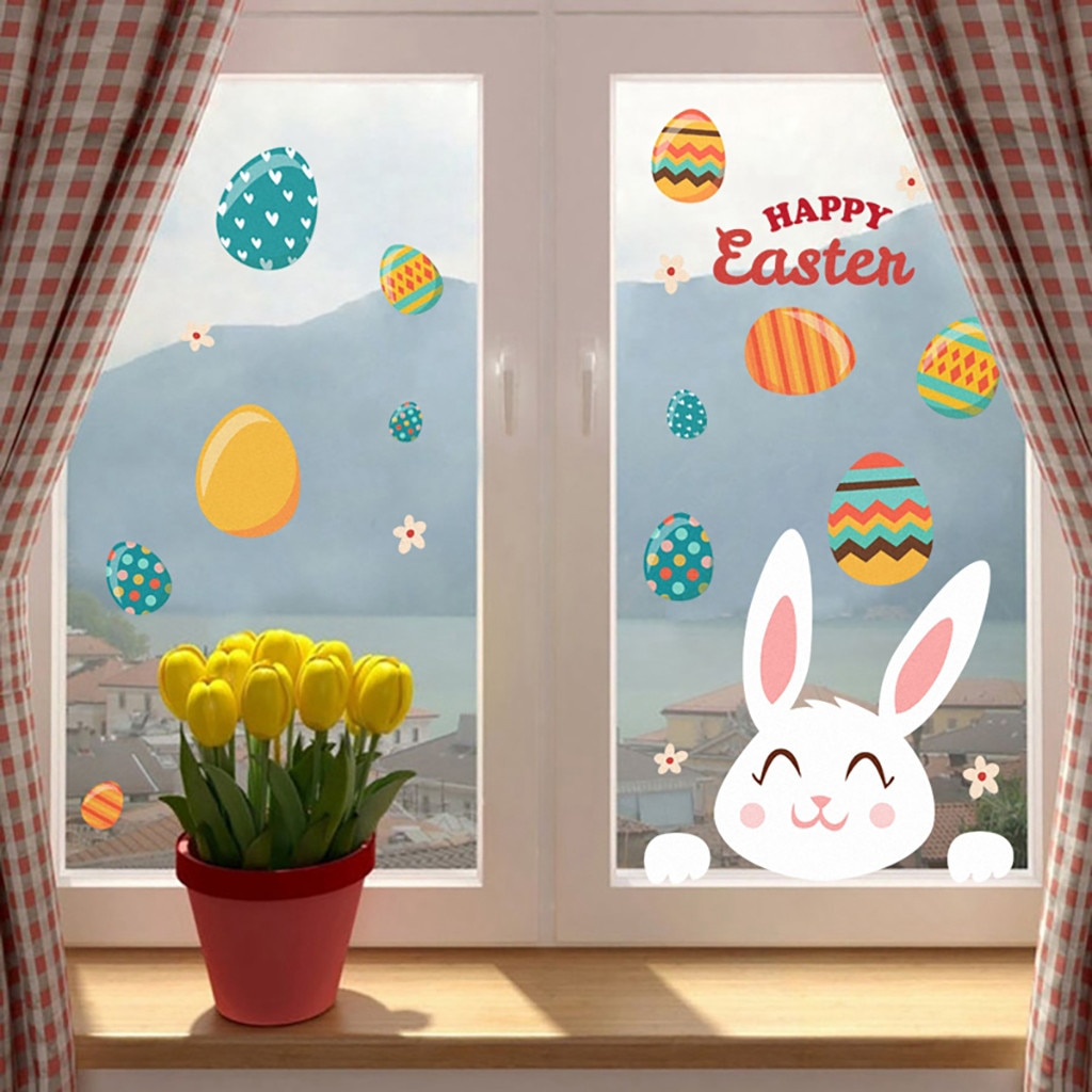 Coelho coelho ovo páscoa adesivo de parede happly páscoa quarto janela adesivos bonito dos desenhos animados adesivo de parede decoracion hogar nordico