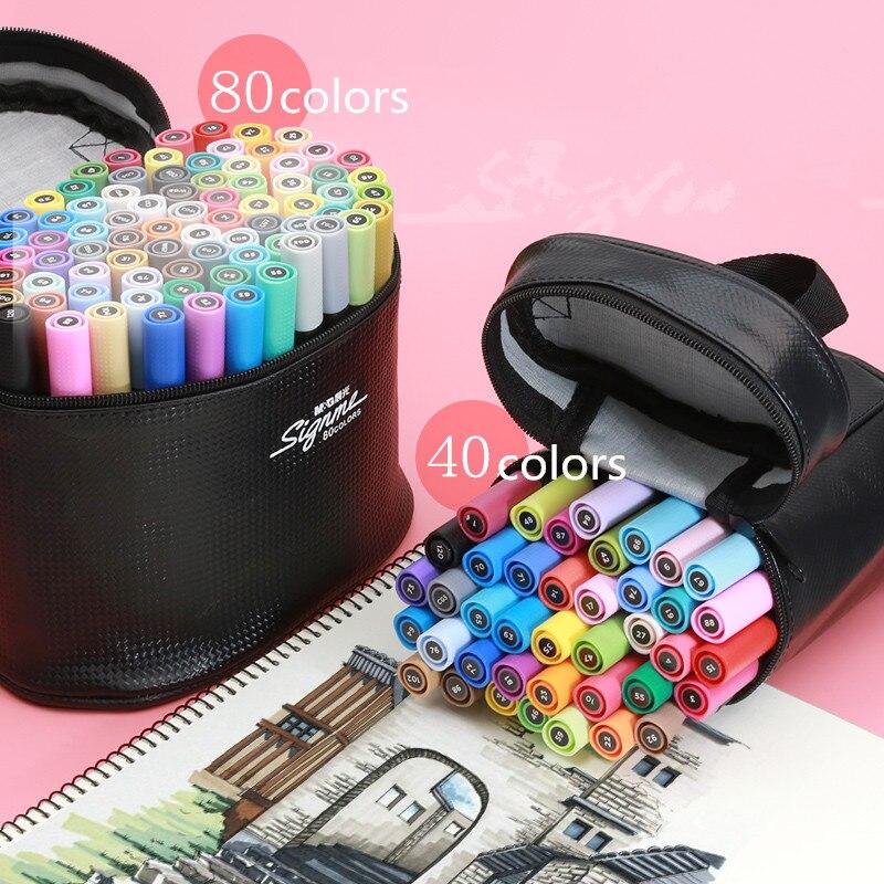 Rotuladores artísticos de 36/colores 40/80 M & G, pincel de Manga a base de Alcohol, marcadores artísticos de doble cabeza