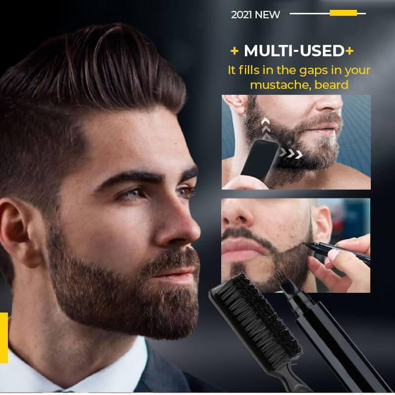 4 Points Multi-Used Pen Liquid Beard Eyebrow Pencil Precise Brow Definer Long Lasting Waterproof Blo