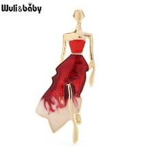 Wuli&baby Enamel Beauty Dress Lady Brooches Women Unisex 4-color Model Figure Party Office Brooch Pi