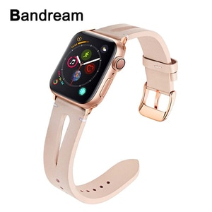 Female Genuine Leather Watchband for iWatch Apple Watch SE Series 6 5 4 3 2 1 38/40/42/44mm Band Rose Gold Steel Clasp Strap