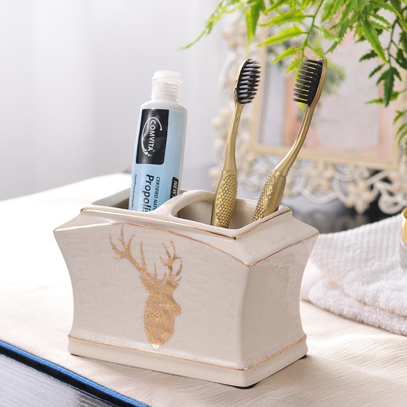 Bathroom Set Bathroom Accessories Set Ceramic Liquid Soap Dispenser Toothbrush Holder Bathroom Decor Washing Room Sets enlarge
