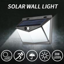 208led ao ar livre luz solar do jardim 3 modos de sensor de movimento luzes de parede de emergência ip65 à prova dwide água 270 ° grande angular lâmpada de parede solar