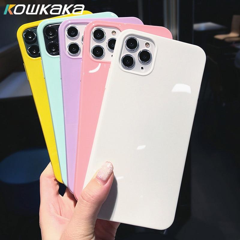 Красочные силиконовые чехлы Kowkaka для пар iPhone XR X XS Max 6 6S 7 8 Plus 11Pro Max милый мягкий простой чехол для телефона ярких цветов