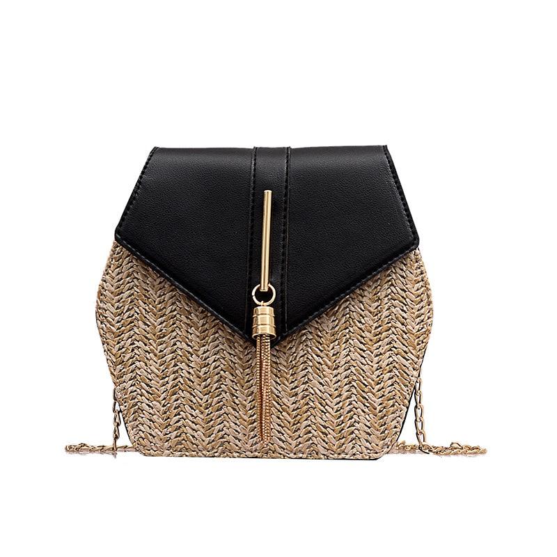 جديد حقيبة صغيرة موضة جديدة شاطئ القش حقيبة سلسلة حقيبة ساعي شرابة تصميم المرأة جلدية Crossbody حقيبة كتف حقيبة يد المحافظ