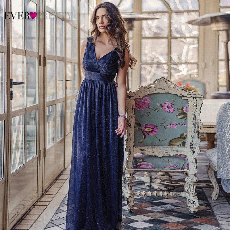 Blue Dress Women Evening Dresses Ever Pretty 2021 V-Neck A-Line Sleeveless Floor-Length Sparkly Sexy Party Gown Robe De Soiree