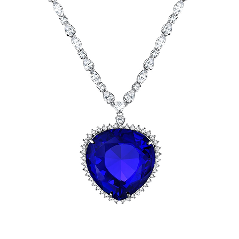 Titanic Heart Of The Ocean Necklace Dark Blue Heart Pendant For Women Fashion Jewelry Lover Couple Valentine's Day Birthday Gift