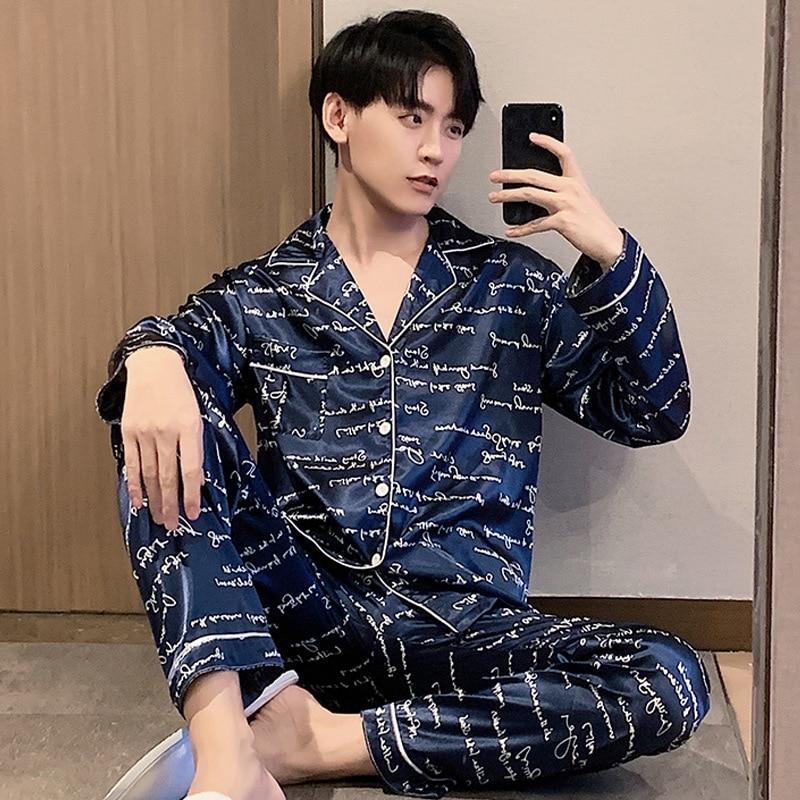 Атлас пижамы мужчины одежда для сна шелк пижама комплект пижама Entero Hombre ансамбль Homme осень длинный рукав лацкан плюс размер Bielizna Nocna