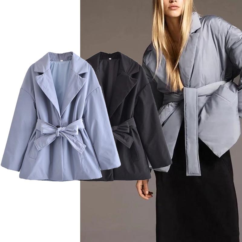 ZA الشتاء النساء وسادة مبطنة سترات مع حزام 2021 الدافئة طويلة الأكمام المتضخم معطف دافئ الإناث ملابس خارجية غير رسمية شيك