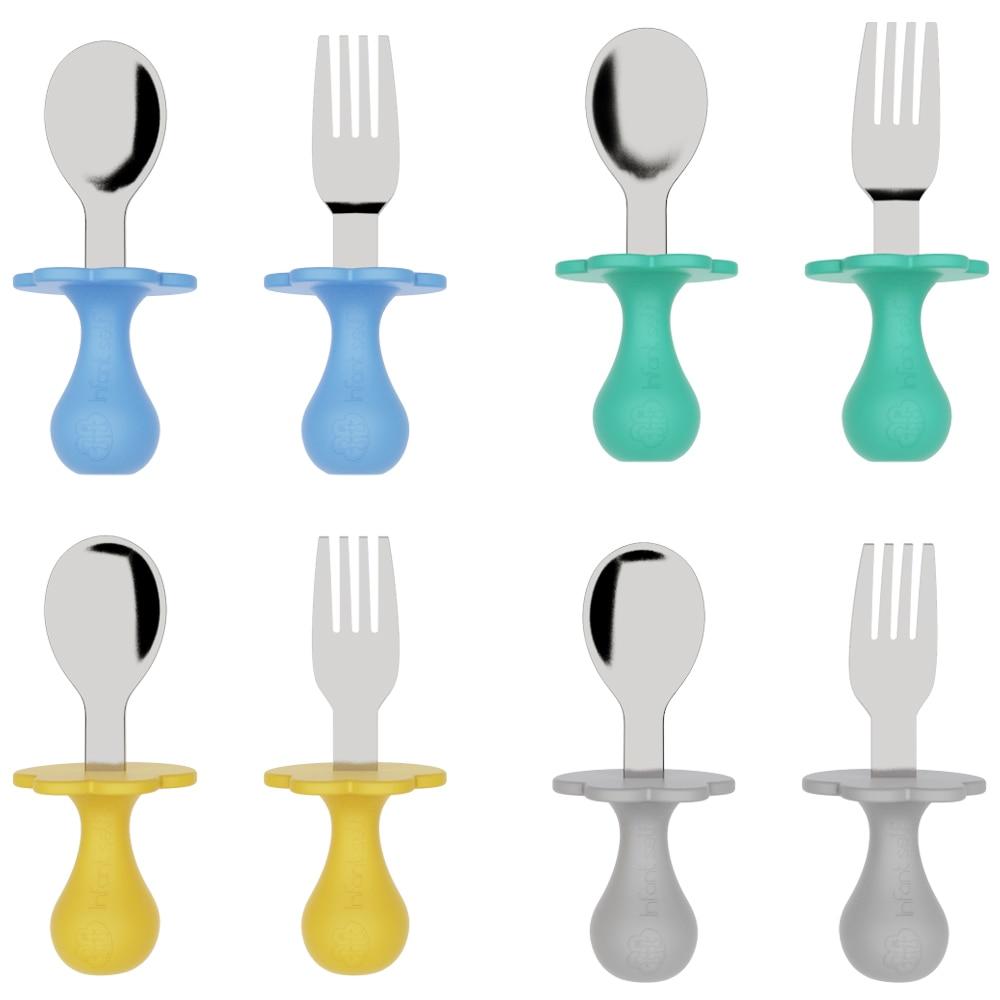 Детские столовые приборы, узнать есть тренировочные ложка короткий набор ложка и вилка Посуда для кормления вилка Детские гаджеты детские ...
