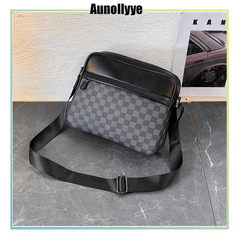 New Arrival Man'S Business Luxury Bag Casual Leather Designer Messenger Bag Plaid Pattern Vintage Men Crossbody Bag Fashion Male