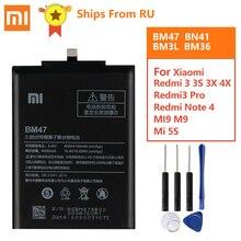 Batterie dorigine BM47 Pour Xiaomi Redmi 3 3S 3X 4X Redmi3 Pro Redmi Note 4 4X Pro BN41 Xiaomi 9 M9 Mi9 BM3L Mi5s Km 5S BM36