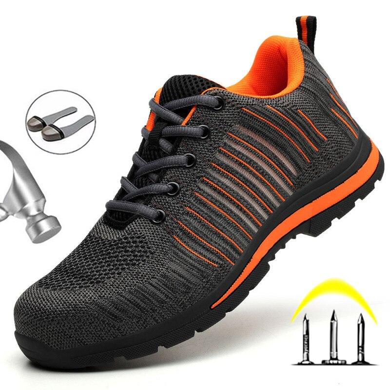 2021 جديد تنفس الرجال أحذية أمان الصلب تو عدم الانزلاق حذاء برقبة للعمل أحذية غير قابلة للتدمير ثقب واقية العمل أحذية رياضية الذكور العمل