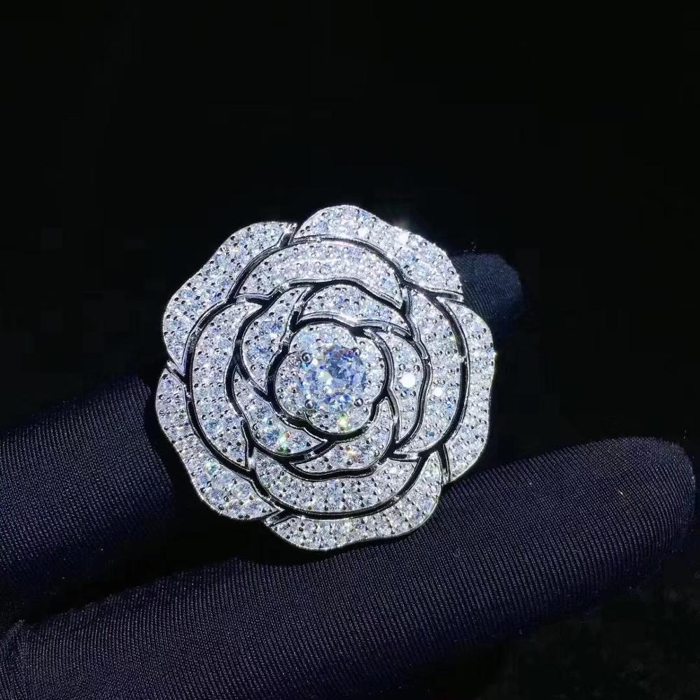 بروش كاميليا من الفضة الإسترليني عيار 925 مرصع بالزركونيا ، بروش على شكل زهرة ، مجوهرات كلاسيكية راقية للنساء ، 34 مللي متر
