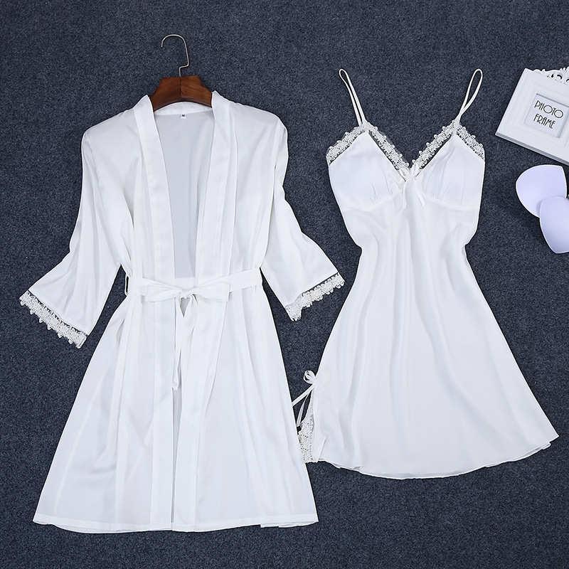 Sexy Summer Womens 2PC Robe Bath Gown Strap Top Kimono Pajamas Sets Sleepwear Lady Home Wear Nightgown Suit Sleepshirts M-XXL