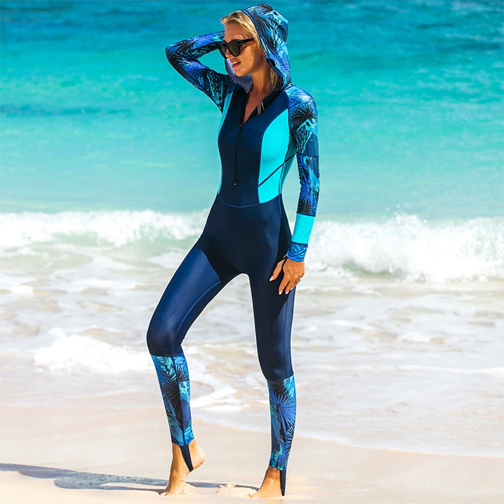 SABRT New Ladies Hooded Diving Retro Long Sleeve Sunscreen Swimsuit Jellyfish Suit Swimming Snorkeling Surfing