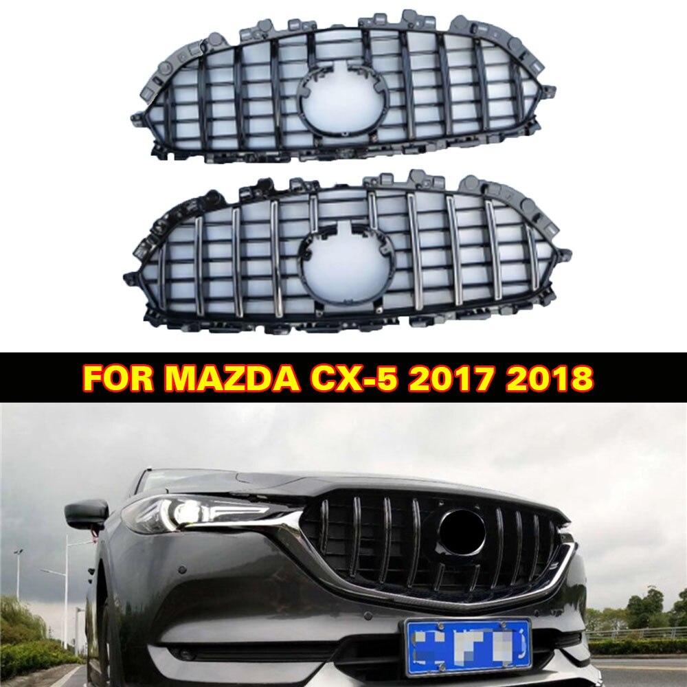 السيارات الجبهة شبكة الخارجي قناع الزخارف يغطي الجبهة الوفير ABS تعديل شواء الشوايات صالح لمازدا CX-5 CX5 2017 2018 السيارات مصبغة