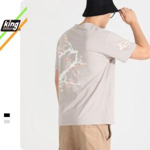 King Billion 100% Cotton 200G Thick Men's summer Print flower Men's T-shirt Loose Short-Sleeved  Casual Casic Shirt Round Neck