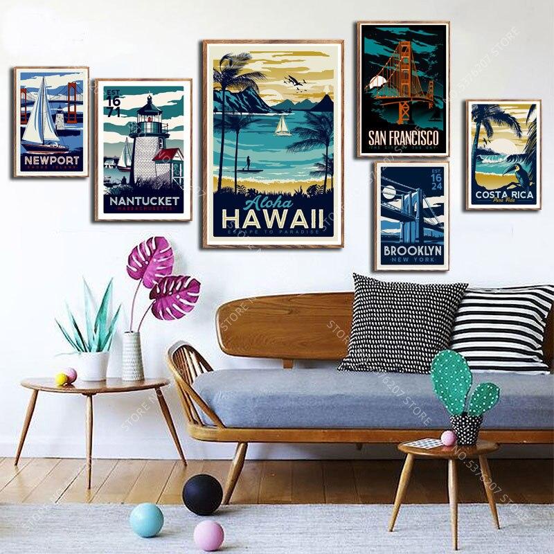 G006 Kunst Decor Costa Rica Havaii Vereinigten Staaten Land Vintage Reise Städten Landschaft Wand Kunst Leinwand Malerei Silk Poster
