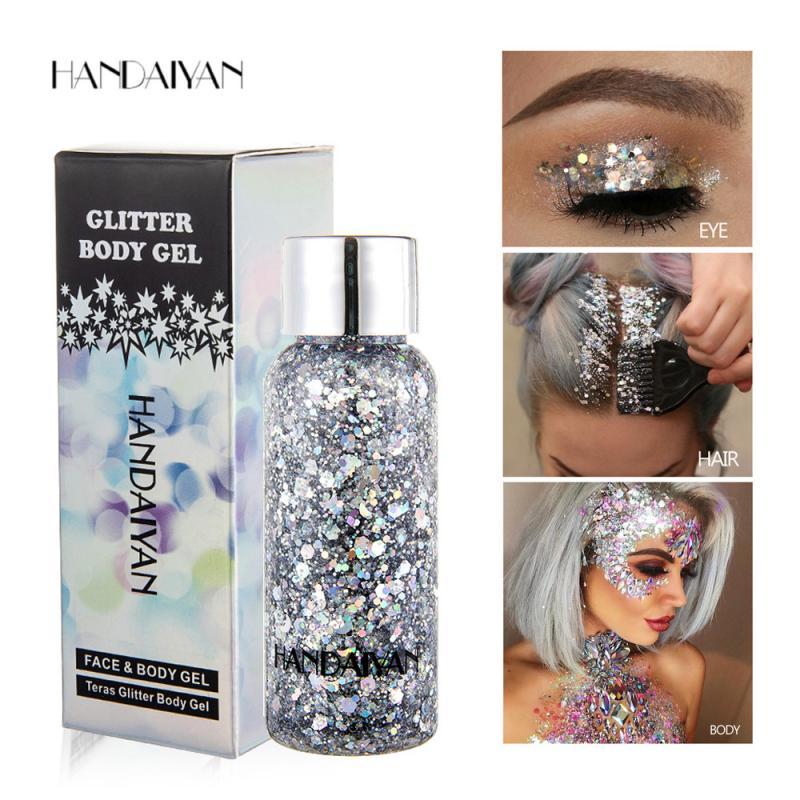 HANDAIYAN Eyeshadow Glitter Gel Cream Body Hair Face Eye Glitter Flash Heart Loose Sequins Pigment Cream Festival Decor TSLM2 недорого
