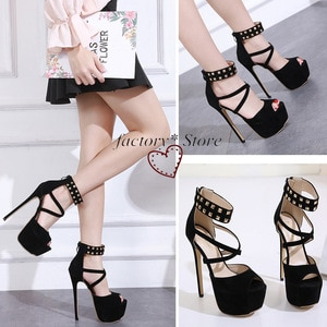 Fish Head Rivet Ladies High Heel Shoes Fine Platform High-Heeled Sandals Shroud 16cm Women Shoes Stripper Shoes High Heels