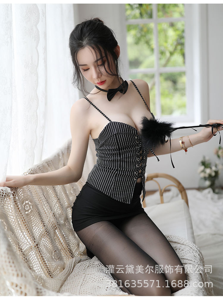 Sexy Lingerie Sexy Suit Women's Sexy Secretary Dress Cross Strap Elastic Bag Hip Skirt Temptation Pa