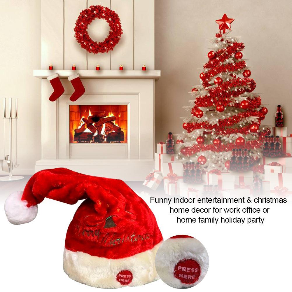 Gorro para escuchar música adorno de Papá Noel innovador niños vacaciones muñeca de juguete de regalo eléctrico cantante baile divertido Santa Claus