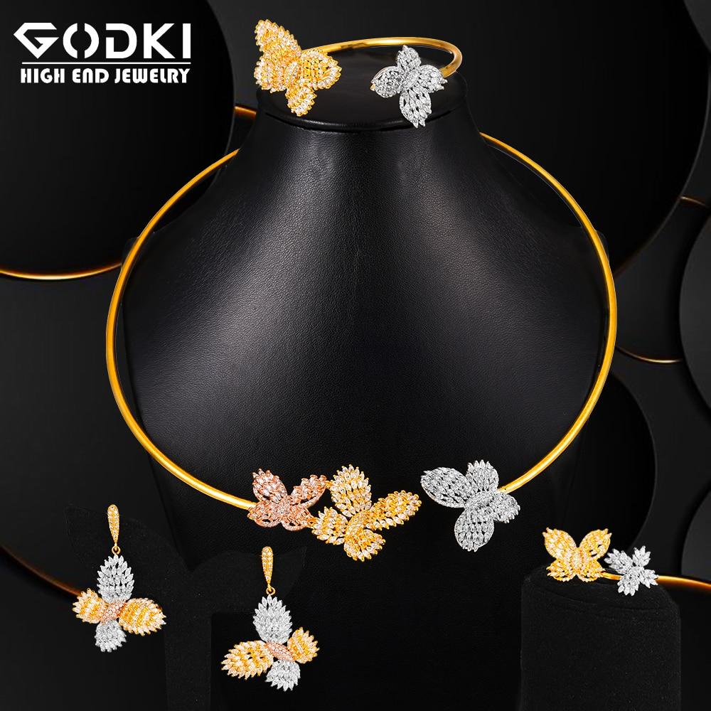 Famosa marca GODKI, amuletos de mariposa en 3 tonos, conjuntos de joyas de boda, juegos de joyas para mujer, conjunto de joyas de novia Dubai
