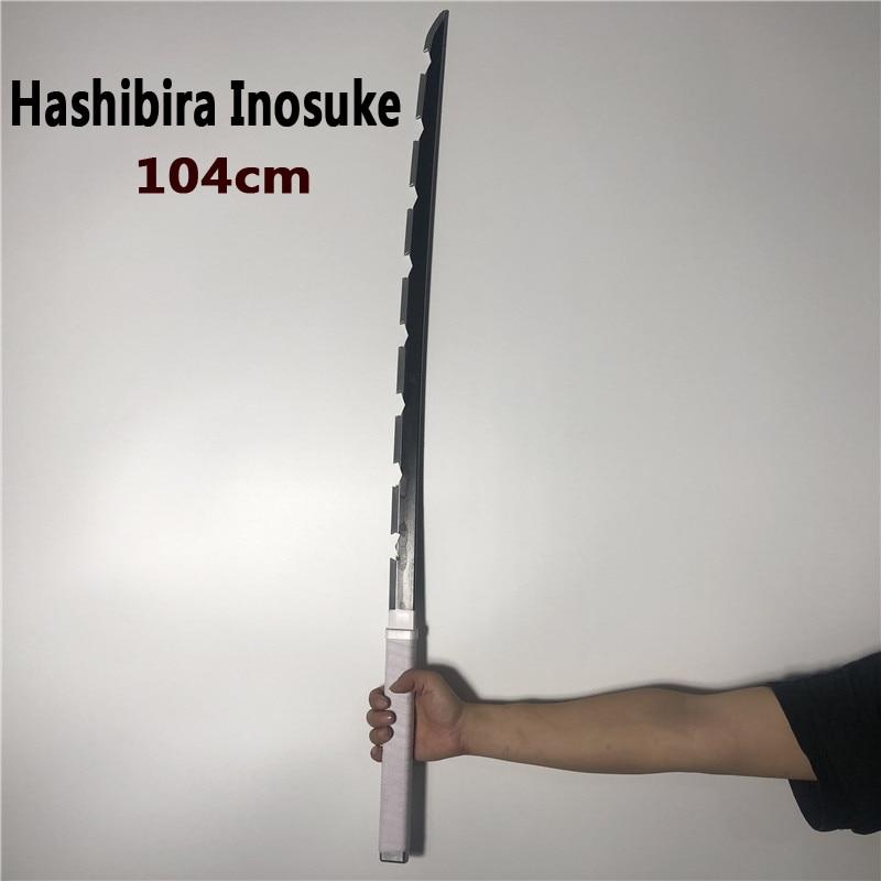 11 Cosplay Hashibira Inosuke espada arma demonio asesino Kimetsu no Yaiba espada Anime Ninja cuchillo de la PU 104cm
