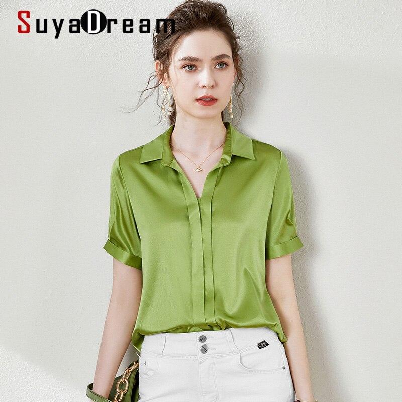 SuyaDream, blusa de satén para mujer, 100% de seda, sólido corto, mangas, cuello en V, blusa estilo Oficina, verano 2020, ropa de seda elegante