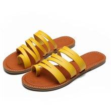 Women Soft Leather Multi Straps Flat with Causal Slip on Slide Sandals Outside Designer Slides  Zapa
